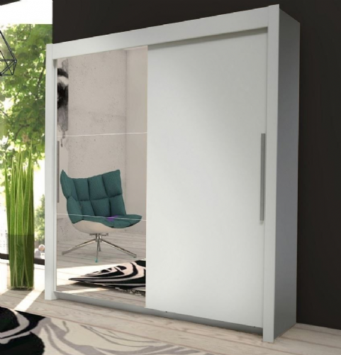 Miami Sliding Door Wardrobe Slider Cupboard Robe Matt White & Mirrored - 2637
